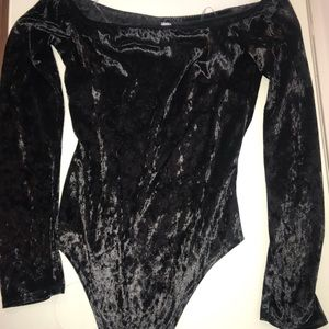 Black velvet off the shoulder body suit